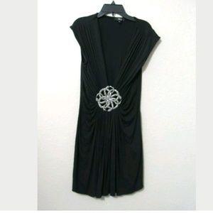 L Sky Black Snake Deep V Tunic/Mini Dress